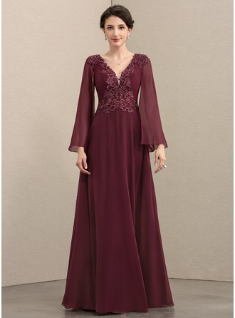 4669c2ed34ea9 A-Line V-neck Floor-Length Chiffon Lace Evening Dress With Beading Sequins