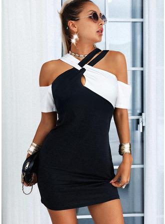 Color Block Sheath 1/2 Sleeves Mini Casual Elegant Dresses
