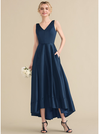A-Line V-neck Asymmetrical Satin Bridesmaid Dress With Pockets