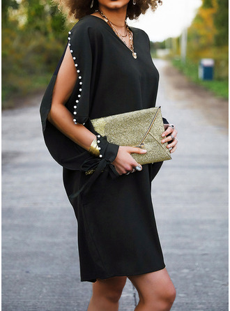 Solid Beaded Shift Long Sleeves Midi Little Black Elegant Tunic Dresses