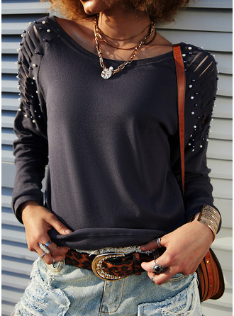 Beaded Solid Round Neck Long Sleeves Casual Blouses