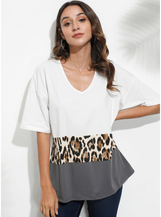Print Patchwork Leopard 1/2 Sleeves Polyester V Neck T-shirt Blouses
