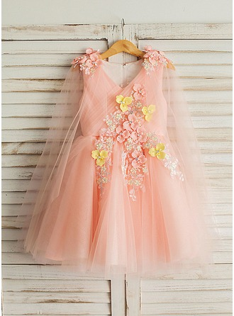 A-Line/Princess Knee-length Flower Girl Dress - Satin/Tulle Long Sleeves V-neck With Appliques