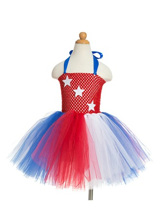 A-Line/Princess Short/Mini Flower Girl Dress - Tulle/Polyester Sleeveless Halter