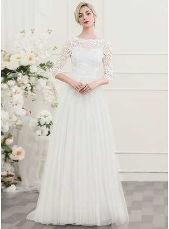 A-Line/Princess Scoop Neck Sweep Train Tulle Lace Wedding Dress With Beading Sequins Bow(s)
