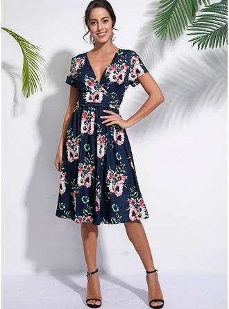 フローラル 印刷 Aラインワンピース 半袖 ミディ カジュアル エレガント ファッションドレス