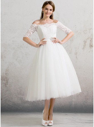 Duchesse-Linie Off-the-Schulter Wadenlang Tüll Brautkleid mit Perlstickerei Pailletten