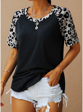 Leopard Print Round Neck Short Sleeves Casual T-shirt