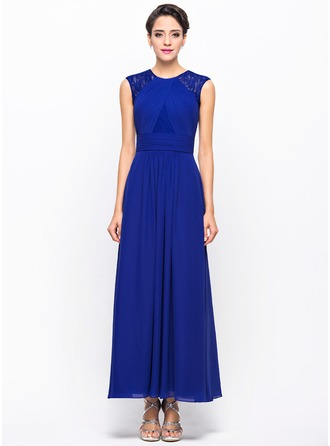 A-Line/Princess Scoop Neck Ankle-Length Chiffon Lace Evening Dress With Ruffle