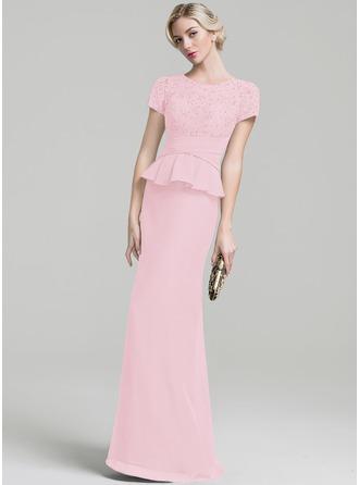 Trompete/Meerjungfrau-Linie U-Ausschnitt Bodenlang Chiffon Kleid für die Brautmutter mit Rüschen Perlstickerei Pailletten