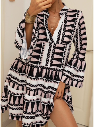 Geometric Print Shift Long Sleeves Midi Casual Vacation Dresses