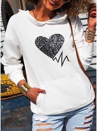 Imprimeu Kalp Mâneci Lungi Kapüşonlu svetşört