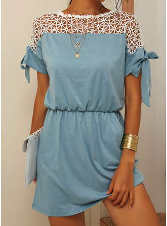 Lace Sheath 1/2 Sleeves Mini Casual Dresses