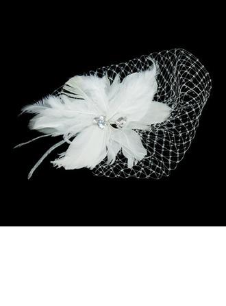 Maravilloso Pluma/Tul Flores y plumas con Rhinestone
