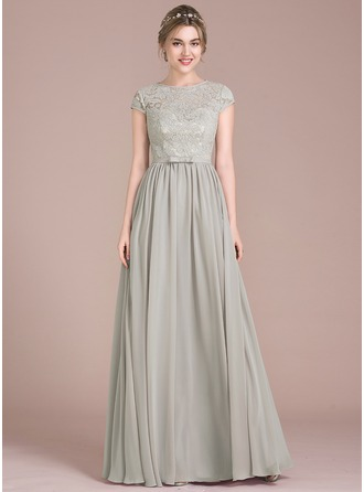 A-Line/Princess Scoop Neck Floor-Length Chiffon Lace Prom Dress With Bow(s)