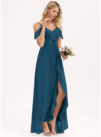 A-Line V-neck Asymmetrical Chiffon Bridesmaid Dress With Cascading Ruffles