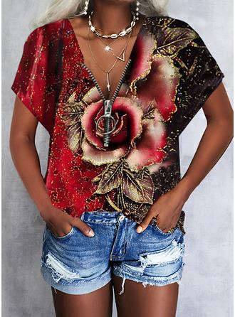 Floral Print V-Neck Short Sleeves Casual
