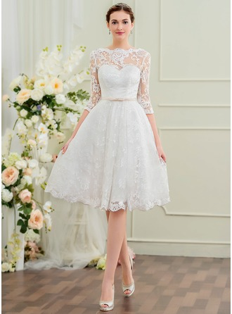 A-Line Illusion Knee-Length Lace Wedding Dress With Bow(s)