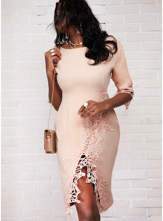 Lace Solid Bodycon 3/4 Sleeves Midi Elegant Pencil Dresses