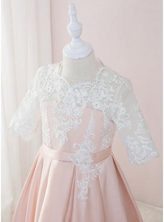 Robe Marquise/Princesse Longueur ras du sol Robes à Fleurs pour Filles - Satiné/Dentelle 1/2 manches Col rond