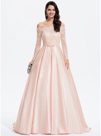 Ball-Gown/Princess Off-the-Shoulder Sweep Train Satin Prom Dresses With Beading Sequins Bow(s)