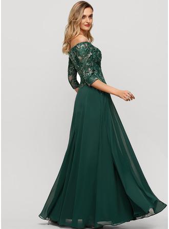 Corte A Off-the-ombro Longos Tecido de seda Vestido de festa com lantejoulas