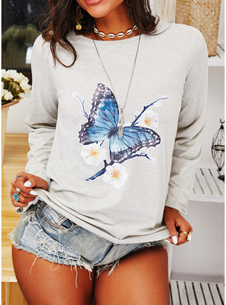 Animal Print Floral Round Neck Long Sleeves Sweatshirt