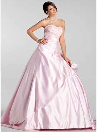 Ball-Gown Sweetheart Court Train Satin Wedding Dress With Embroidered Ruffle Beading Sequins