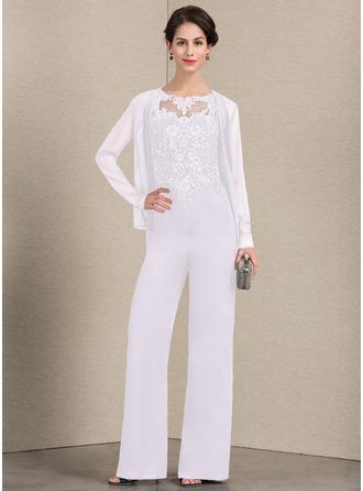 Vestidos princesa/ Formato A Decote redondo Longos Tecido de seda Renda Vestido para a mãe da noiva