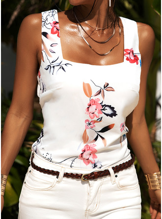 Floral Print Strap Sleeveless Casual Tank Tops
