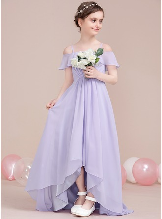 A-Line/Princess Off-the-Shoulder Asymmetrical Chiffon Junior Bridesmaid Dress With Cascading Ruffles
