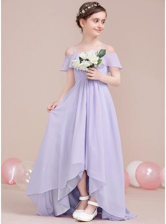 A-Linie/Princess-Linie Off-the-Schulter Asymmetrisch Chiffon Kleid für junge Brautjungfern mit Gestufte Rüschen