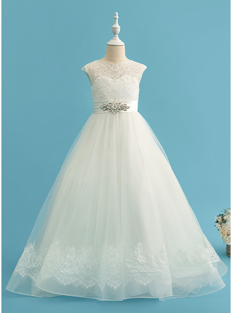 Ball-Gown/Princess Sweep Train Flower Girl Dress - Satin/Tulle/Lace Sleeveless Scoop Neck With Beading