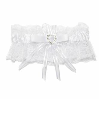 Chic Satin Lace With Bowknot Rhinestone Wedding Garters