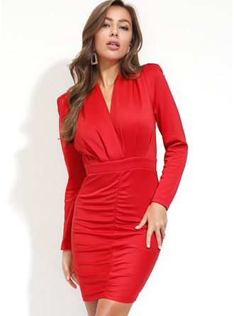 Above Knee V neck Polyester Crumple/Solid Long Sleeves Fashion Dresses