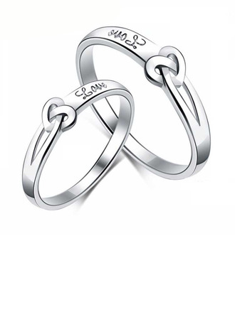 Sterling Silver Knot Heart Couple's Rings - Valentines Gifts