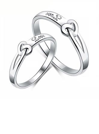 Argent sterling Nœud Cœur Les anneaux du couple - Cadeaux Saint Valentin