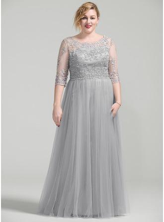 Vestidos princesa/ Formato A Decote redondo Longos Vestido para a mãe da noiva com Beading Apliques de Renda lantejoulas