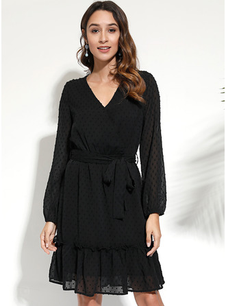 Solid A-line Long Sleeves Mini Little Black Casual Elegant Skater Wrap Dresses