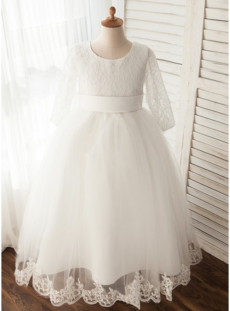 Ball Gown Floor-length Flower Girl Dress - Tulle Long Sleeves Scoop Neck With Appliques