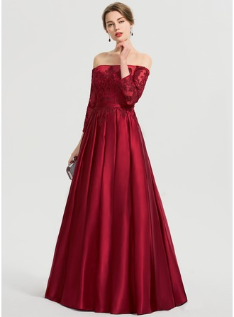 Gallakjole/Princess Off-shoulder Gulvlængde Satin Gallakjole