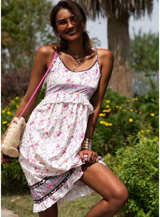 Imprimeu Bir Çizgi Kolsuz Midi gündelik Tatil Tip Moda Elbiseler