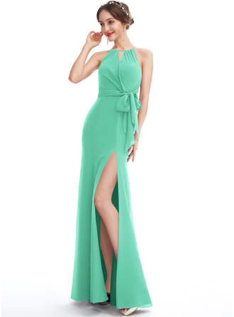 A-Line Halter Floor-Length Bridesmaid Dress With Ruffle Split Front