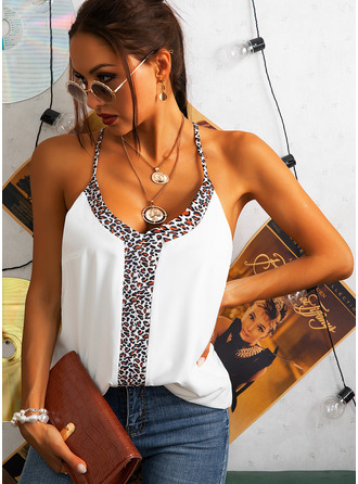 Leopard Spaghetti Straps Sleeveless Casual Tank Tops