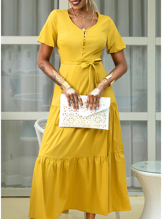 Solid A-line Short Sleeves Maxi Casual Vacation Skater Dresses