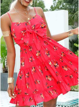 Floral Print A-line Sleeveless Mini Casual Sexy Vacation Skater Type Dresses