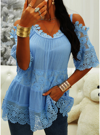 Lace Solid Cold Shoulder 3/4 Sleeves Casual Blouses