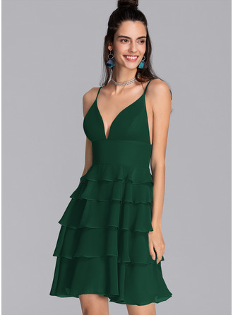 A-Line V-neck Short/Mini Chiffon Homecoming Dress With Cascading Ruffles