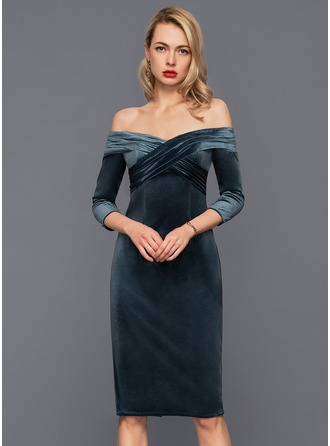 Sheath/Column Off-the-Shoulder Knee-Length Velvet Cocktail Dress With Ruffle
