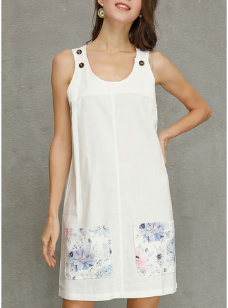Floral Print Shift Sleeveless Mini Casual Tank Dresses